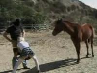 馬にフェラ&アナルSEXを見せつける変態カウボーイ外国人父娘