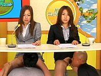 ニュースを読む2人の女子アナ!でもその下半身は...