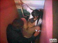 巨乳女子校生がカッターナイフで脅されてトイレでレイプされる
