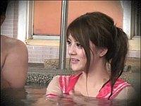 透け透けセーラー服で男湯に入ってSEXをするミッション