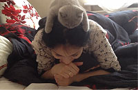 飼い主と一緒に読書する猫