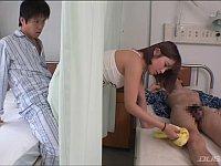 病室の隣のベッドに見舞いに来たミニスカ女をカーテン越しに痴漢!