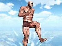 海の上の筋肉 マッチョな男が海の上を走るゲーム