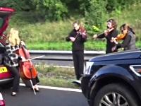 渋滞に巻き込まれた人々の心を癒す弦楽四重奏団