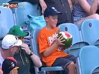 クリケットの試合中にスイカを丸かじりしながら観戦している少年が話題にwww