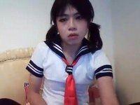 童顔なツインテール女装子の自画撮りオナニー