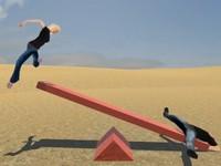 高いとこからシーソーに飛び降りたら、逆側の人は何m跳ぶのか? 飛距離を計測するゲーム