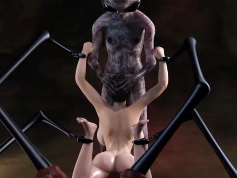 【3DCGアニメ】宇宙人に捕らえられて中出しを強要される爆乳女性