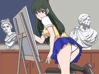 Upskirt Negotiations Lets draw A Picture 憧れの先輩をデッサンするエロフラッシュ
