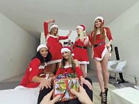 【エロVR】サンタのサプライズプレゼントはブロンド美女たちとの乱交パーティー!