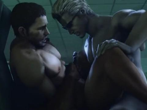 【3DCGゲイアニメ】ウェスカーがクリスを力尽くで中出しレイプ!