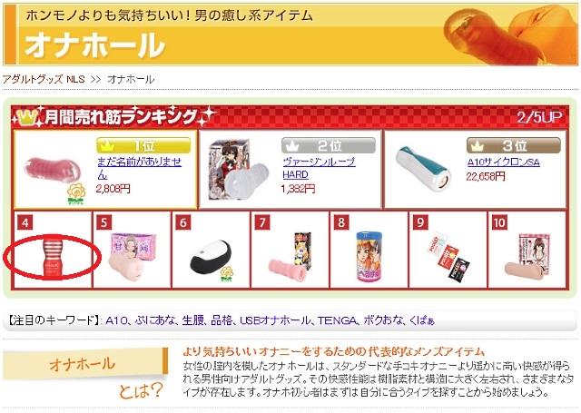NLSの商品リストの画面