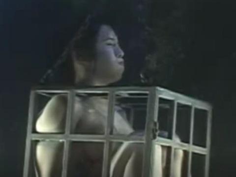 拘束用の檻に入れられ、水中で窒息プレイを受ける美人お姉さん