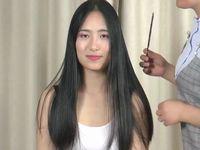【断髪フェチ】ロングヘアーの中国美人が髪をバッサバサに切られてベリーショートに…!
