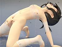 【艦これ無修正CGアニメ】包帯ビキニの電ちゃんが母乳とイキションまみれの異物挿入オナニー