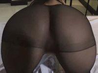【無修正】黒パンストを直履きしたデカ尻女をバックでハメまくる中出しセックス!